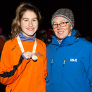 West Muskerry AC runner Stephanie Cotter with her All Ireland medal for the U19 4,000m. She is pictured with a very proud coach, Collette O'Riordan