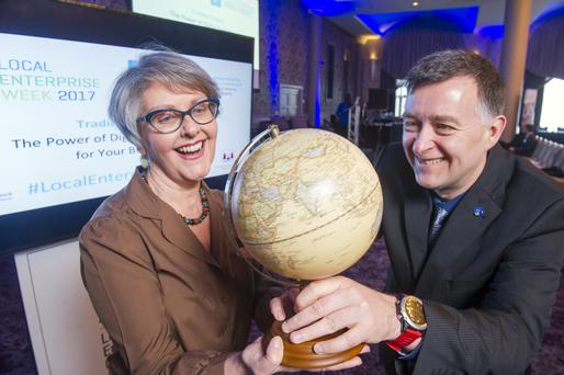 Grasping the worldwide web are Claire Graham, The Old Mill Stores in Connonagh and Sean O'Sullivan, Head of Enterprise, Local Enterprise Office, South Cork