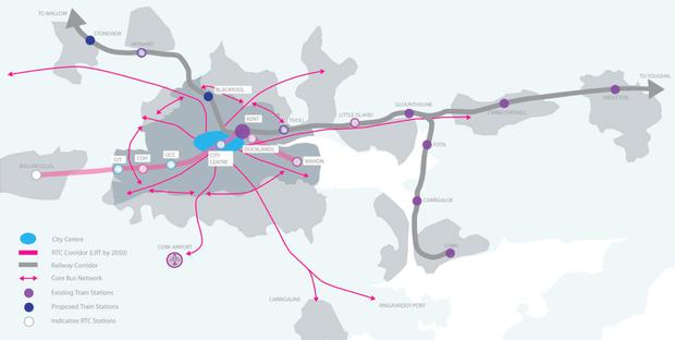 A map of the proposals contained within Cork 2050 relating to the local transport infrastructure