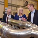 Niall O'Donnellan, Enterprise Ireland, Minister Mary Mitchell O'Connor TD and Tim Murphy, CEO, Flow Technology at the Charleville plant. Photo: John Allen