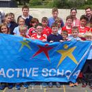 The pupils of Carriganima National School who have been working hard over two years to achieve this Active School Flag