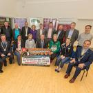 West Muskerry AC'S Thousandaire Launch: (Front Row) Jim Lucey, Chair West Muskerry AC; Bill Allen, Chair of West Cork Athletics & Chair of Cork Athletics Board; Collette O'Riordan, West Muskerry AC Secretary; Olive Loughnane, World Champion Race Walker; Minister for Agriculture Food and the Marine Michael Creed; Boxer Christina Desmond; All Ireland Camogie and Football Star Breige Corkery & Cork County Mayor Declan Hurley with the sponsors (Rear) at the lauch of 'Who Wants To Be A Thousandaire'. The Show will be held in the Riverside Park Hotel on October 21 at 8pm. Tickets for the show are on sale from any club member or on 087-7874554.