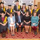 Class of 2017 at McEgan College of Further Education, Macroom who graduated in Healthcare Support QQI Level 5 with (Front Row) John Fitzgibbons, Director of Further Education & Training Board; Margaret Corkery; Deputy Principal McEgan College, Minister for Agriculture, Food and the Marine Michael Creed; Principal McEgan College Trish Lynam and Course Instructor Catherine Kelleher at the recent McEgan PLC Graduation Awards at The Riverside Park Hotel, Macroom. Picture: John Delea