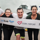 Irish Olympian Mick Clohisey; Noelle Foley of The Kerryman; Karl Henry; Maria Herlihy of The Corkman and Derval O'Rourke at Cork airport ahead of the SPAR Fitlive Run Series 5km - Cork Airport Midnight Runway Run on Nov 17