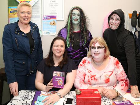 Sheila Roche, Patricia Lofts, Liz O' Riordan, Cathleen Lane and Eileen O' Doherty organised the Trick or Treat for Temple St Halloween Party at Newmarket CYMS Hall