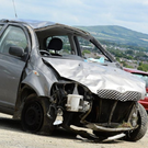 The Toyota Yaris (after the crash) driven by learner driver Sarah O'Connell plunged off the road at Scartaglen