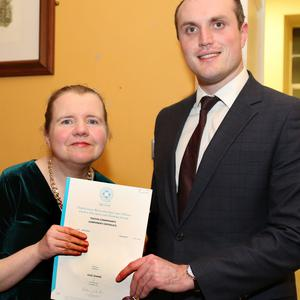 IRD Board member Councillor Gearóid Murphy with Julie Lehane, Dromtariffe, who graduated at the Recognition of Learning ceremony
