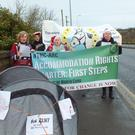 Members of the Travellers of North Cork group who held a protest outside the Cork County Council offices in Mallow to highlight the issue of homelessness