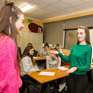 St Mary's Secondary School Macroom, TY Students, Savannah Hickey & Lauren Healy, learning the art of sign language skills, guided by instructor Richie O'Mahony, as part of a series of workshops in which they engaged in at end of term. Picture: John Delea