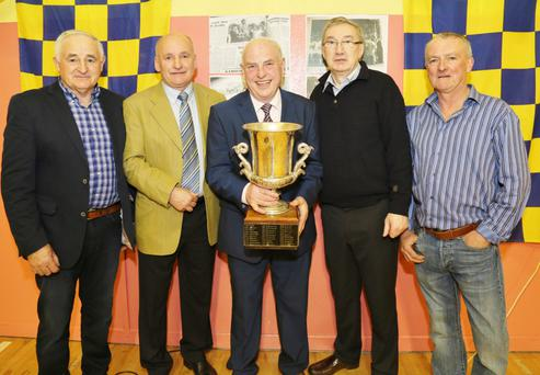 Duhallow Board Chairman Tom Dennehy with the four captains Eamonn Kelly (1976), Willie Walsh (1974), Michael John Kearney (1975) and Connie Goulding (1977)