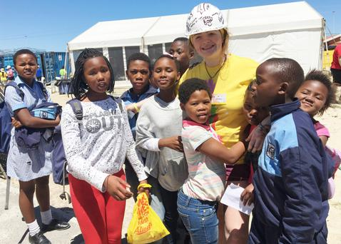 Leah chatting to some of the local children during her stay in Khayalitsha
