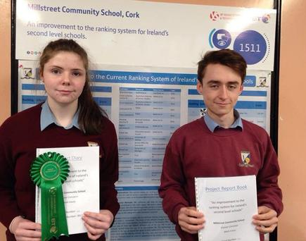 Eimear Corcoran and Mark Casey from Millstreet Community School won a high recommendation in the Social and Behavioural Sciences category at the BT Young scientist finals in Dublin