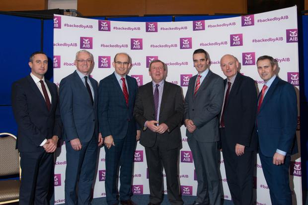 Pictured at the AIB Agriculture Seminar at Corrin Event Centre, Fermoy were: Eoin Lowry, business editor, Irish Farmers Journal; John O'Doherty, head of AIB Cork County; Jim Woulfe, CEO Dairygold; Michael Creed TD, Minister for Agriculture, Food and the Marine; Joe Healy, President IFA; Denis O'Callaghan, AIB head of retail banking and Tadhg Buckley, AIB agri advisor. Photo by Sean Jefferies