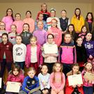 U6, U8 and U10 girls from Araglen Desmonds Buí Football Team received their Medals and Certificates from Cork Senior Footballer Beatrice Casey at a celebration in Kiskeam Community Centre. Photo by Sheila Fitzgerald.