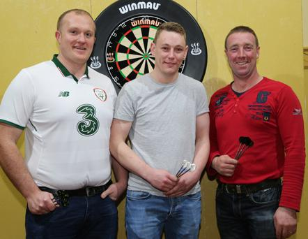 Colm O'Dea, Dromahane; Pat Lucey, Dromahane and Stephen Connolly, Bweeng, pictured at the fundraising darts exhibition