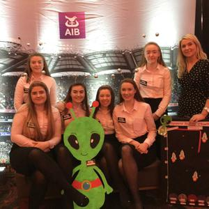 Transition Year students form St Mary's Macroom Caoimhe Moynihan, Hanna Donovan, Miriam Murnane, Katie Sheehan, Jessica Buckley and Savannah Hickey with teacher Arlene O'Donoghue and Student Officer Eleanor Hickey. They travel to the RDS on March 21 to compete in the All Ireland of the AIB Build a Bank Challenge