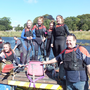 The 'Hairy Army' team of Mick Flynn, Abby Buckley, Ciara Fitzpatrick, Leanne Flynn, JJ Shanahan, Faith Donnelly and Aoibheann Daly getting ready to head out on the River Blackwater ahead of last year's Mallow Seach & Rescue Raft Run