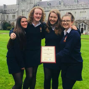St Mary's Macroom students who travelled to UCC for the Psychslam competition and duly won the 'audience choice' award