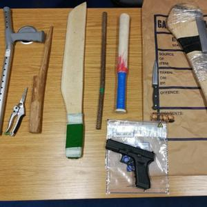 Some of the weapons seized during raids undertaken last Thursday by Gardai from the Mallow District under Operation Thor