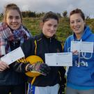 Knocknagree Ladies Footballers Mairead O'Mahony, Shauna O'Neill and Ciara O'Connell supporting the club's fundraiser
