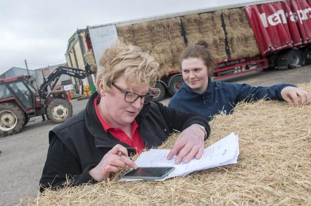 Eileen Kelleher and Rachel McCarthy of Dairygold Co-Op Ballymakeera pictured with an emergency fodder delivery from the UK. Photo Daragh McSweeney
