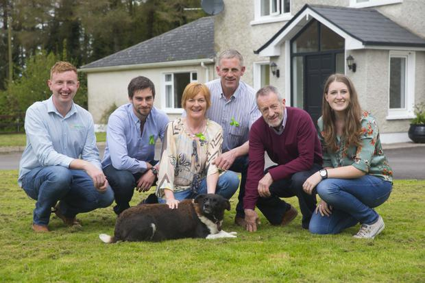 Johnny Gleeson of AgriAware with Michael, Ann and John Coughlan, Sean Kelly MEP and Helena Coughlan and Lil the dog