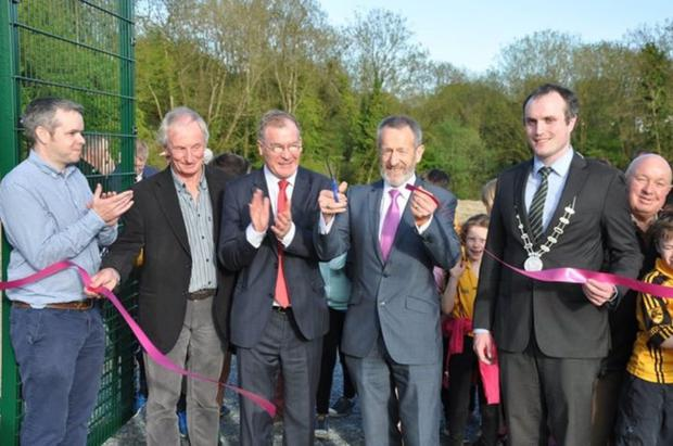 MEP Sean Kelly officially opening the Mourneabbey Astroturf pitch on Friday last with, from left: Noel Walsh, secretary MCC; Liam Madden, chairperson, Senator Colm Burke and Cllr Gearoid Murphy