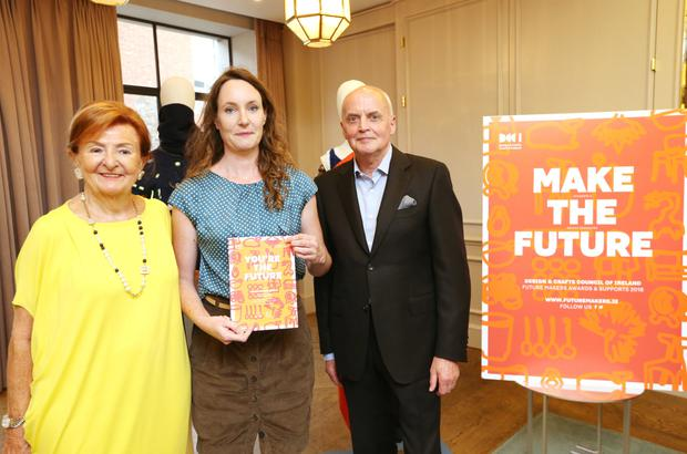 Award-winning Macroom-based artist Sarah Roseingrave with Design & Crafts Council of Ireland chair Breege O'Donoghue and council representative Eddie Shanahan