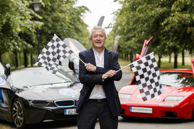 Childline ambassador Louis Walsh getting Cannonball Ireland 2018 – which will finish in Blarney on Saturday, September 8 – under starter's orders, flanked by two of the spectacular supercars that will be taking part in this year event