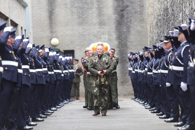 Thomas Kent's remains being escorted from the grounds of Cork prison in 2015