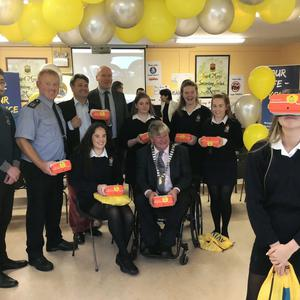 Students from St Mary's Secondary School trying out the Virtual Reality equipment during a recent Your Life – Your Choice Inaugural VR road safety programme aimed at students. It was launched during Road Safety Week with Mayor of the County of Cork, Cllr Patrick Gerard Murphy, students from De La Salle and An Garda Síochána