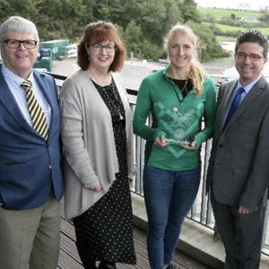 The November Cork Person of the Month, world rowing champion Sanita Puspure receiving her award at National Rowing Centre, Farran Woods. Also pictured were (L-R) Manus O'Callaghan, awards organiser Ann-Marie O'Sullivan, AM O'Sullivan PR; Mike Feely, Lexus Cork and Pat Lemasney, Southern. Photo by Tony O'Connell.