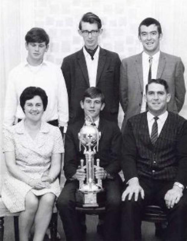 The 1968/69 Mallow Presidents Trophy-winning team of(back row) Manus O'Callaghan, Graham Morphy, Rory Barratt, and Jimmy Gyves (with trophy). Also pictured are Ita O'Leary, Mallow Red Cross; and Pat Organ, water safety examiner