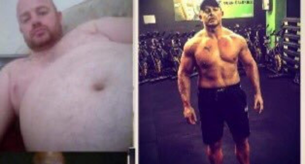 Declan Daly, before (left) and after his transformation