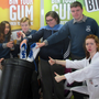 McEgan Pupils: Francesca Tobon Lenci, Darragh Desmond and Jennifer O'Donoghue with 'Bin It' cast members of a Litter Awareness Roadshow