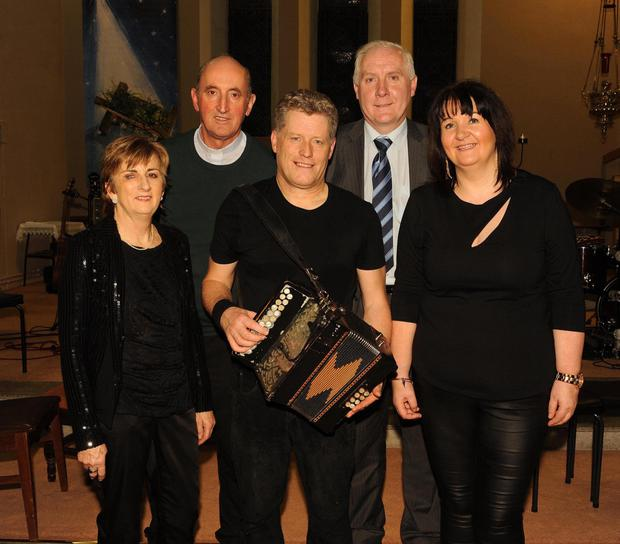 Margaret Dennehy (Music teacher), Fr Pat O'Donnell, Liam O'Connor, Denis Kerins (Principal) and Norma Aherne (TY co-ordinator) at the 'Musical Spirit of Sliabh Luachra' concert at St Joseph's Church