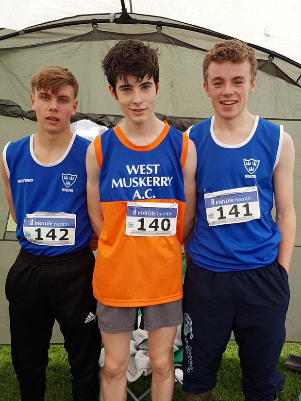 West Muskerry AC members Tadhg Manning Bronze County, Dara Myers and Sean O'Sullivan Bronze County who competed recently in the All Ireland Even and Uneven & Munster B Championships