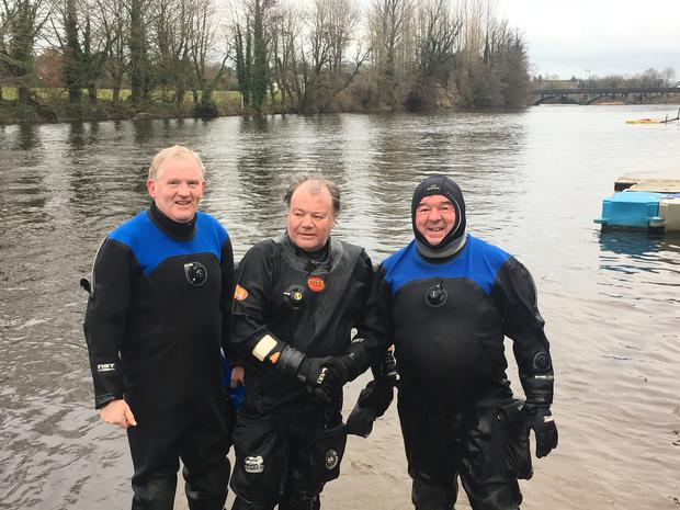 Noel Hayes, Dave Carey and Maurice Carroll who between them have taken part in 110 St Stephen's Day Fin Swims