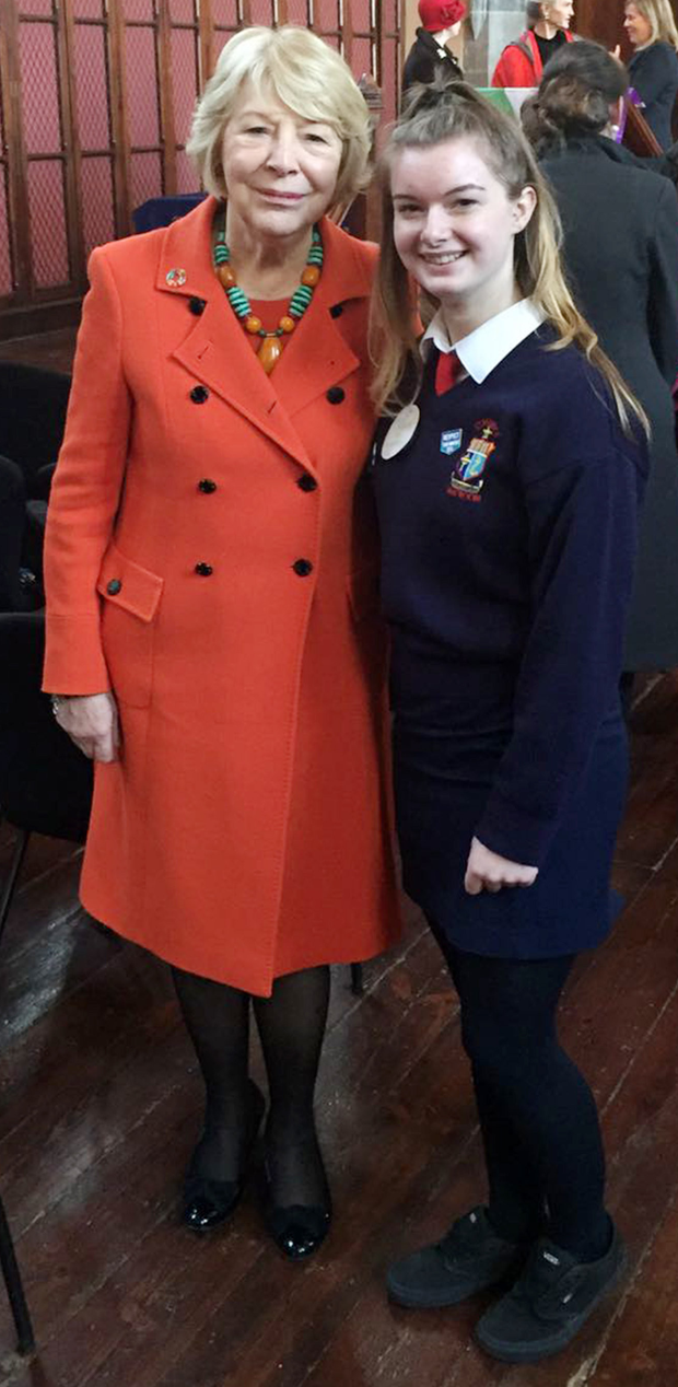 Liadh Hurley pictured with Sabina Higgins, wife of President Michael D Higgins, at a recent invitation to UCC to celebrate 100 years of women voting