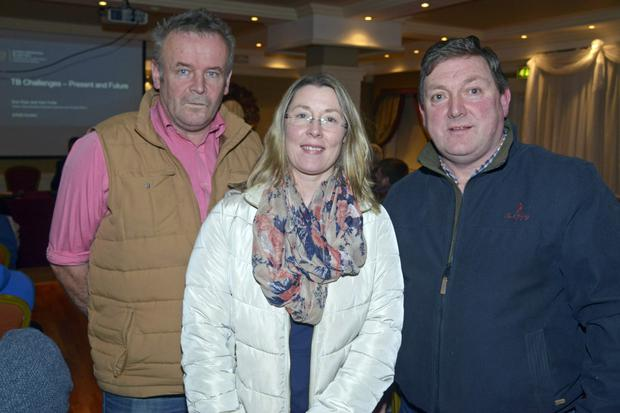 Pictured at a ICMSA TB challenges information meeting at the Castle Hotel, Macroom, was Jerry Herlihy, Department of Agriculture; with farmers Vanessa O'Connor, Innishannon; and Denis O'Connor, Mallow. Photo by Denis Boyle