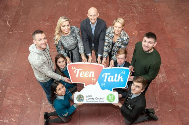 Pat Divilly, Anna Geary, Graham McCormack and Derval O'Rourke launching Cork County Council's 'Teen Talk' initiative with Niall O'Callaghan (Health Ireland co-ordinator Cork County Council) )and students Dylan Roberts & Conall Boyle, Bandon Grammar School and Abby O'Callaghan & Nichola O'Shea, Colaiste Choilm, Ballincollig at Cork County Hall. Photo: Brian Lougheed