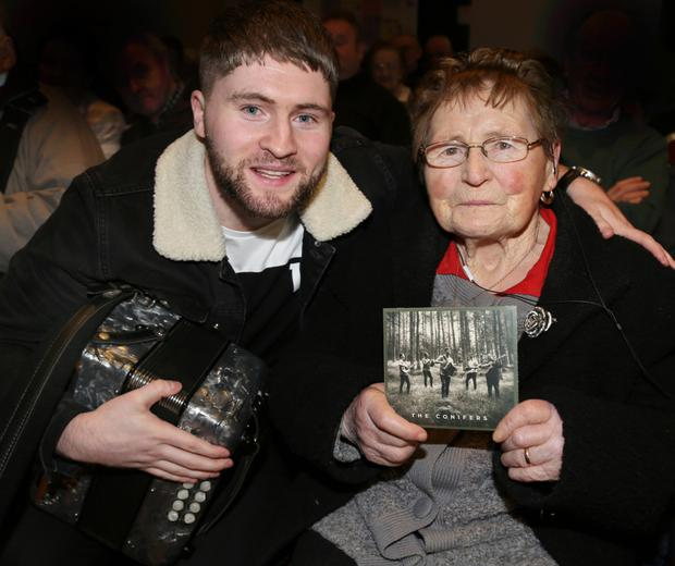 92-year old Lil O'Leary congratulating her grandson, Bryan, on the launch of the new CD