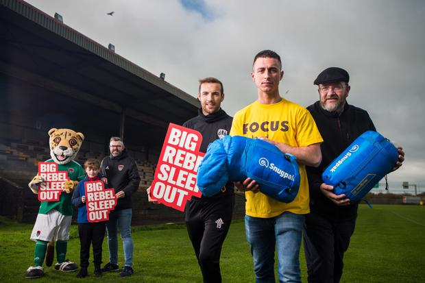 Corky The Cheetah, Adam Spillane from Ballintotis; Damien Sreenan, Cork City FC board member; Karl Sheppard, Cork City FC; Cian Warrington, Focus Ireland Youth Services; and Ger Spillane, Focus Ireland Regional Manager at the launch of Focus Ireland's 'The Big Rebel Sleep Out' at Cork City's FC training ground in Bishopstown. Photo by Michael O'Sullivan /OSM PHOTO