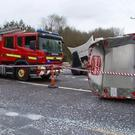 Emergency services at the scene of a collision between two lorries at Ballymacquirke Cross earlier this month. Photo: Adrian Grajewski.