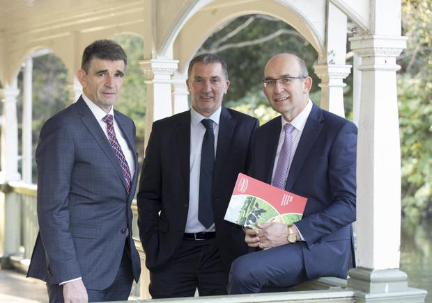 Pictured at the unveiling of Dairygold's annual financial results for 2018 were: Michael Harte, chief financial officer; John O'Gorman, chairman and Jim Woulfe, chief executive officer. Photo: Colm Mahady/Fennells
