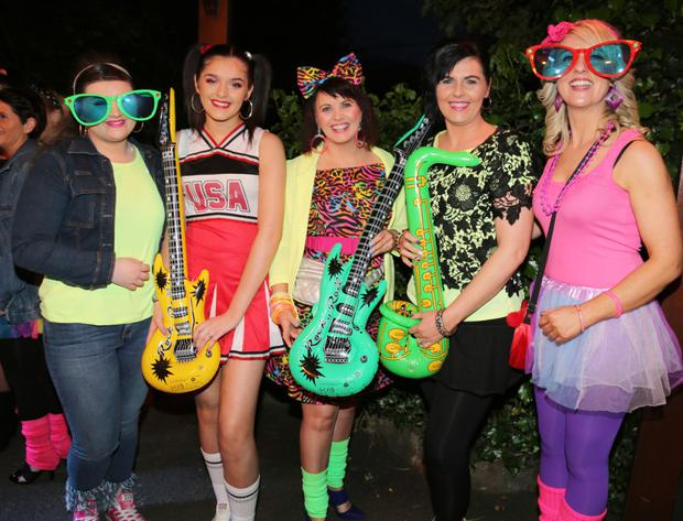 Sophie Healy, Lyre; Róisín Murphy, Kiskeam; Michelle Kavanagh, Mallow; Breda Murphy, Kiskeam, and Aoife Horgan, Doneraile, enjoying the Friends of Helena Ryan 'Back to the 80's' themed fundraiser at the Hibernian Hotel. Photo: Sheila Fitzgerald