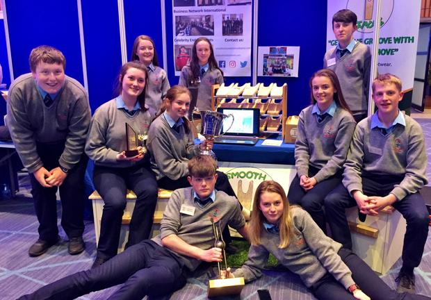 Boherbue Comprehensive TY students scooped first prize at the Student Enterprise Programme competition in Croke Park last Friday. They also received an award for the most creative business on social media. Pictured at Croke Part are Michelle Twomey, Michelle Bradley, Laura Moynihan, Ava Jennings, Megan O'Carroll, Anthony O'Connor, Lauren Hickey, John Fleming, Joe Clogan and Sean Doody. Aidan Lenihan and Senan Murphy are also part of the team