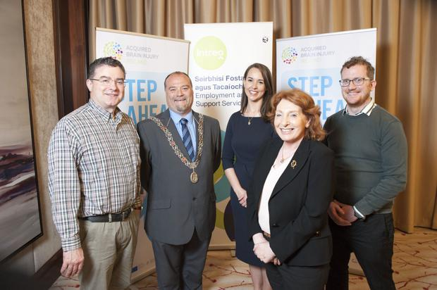 L-R: Dermot Crosby, Department of Employment Affairs and Social Protection (DEASP): Deputy Lord Mayor of Cork, Cllr Thomas Moloney, Sinead Stack, senior occupational therapist with the Mallow-based 'Step Ahead' programme; former Minister of State for Disability, Primary Care and Mental Health, Kathleen Lynch and brain injury survivor Steven Day launching the new programme