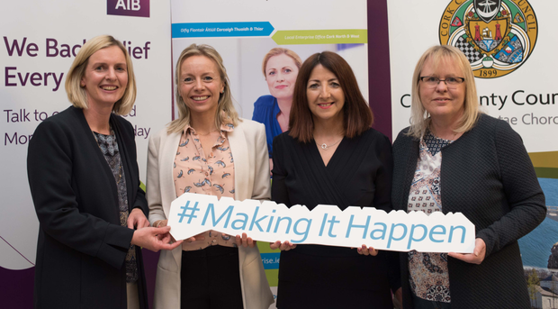Therese Holland, Ballyhooly; Rachel Lane, Killavullen; Joan Kelleher and Barbara O'Sullivan, Mallow, at the Women In Business seminar in the AIB branch, Mallow