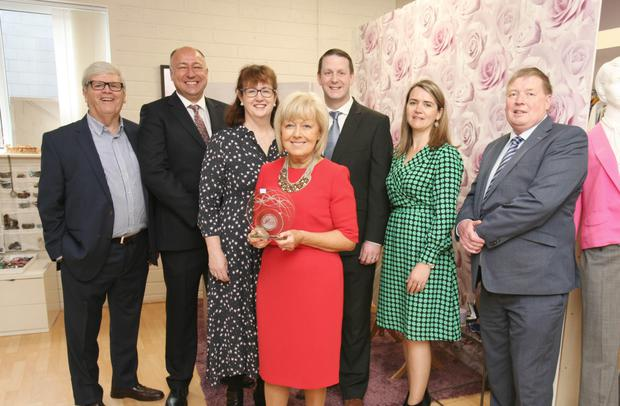 The founder of the Cork Branch 'Dress For Success' being presented with her Cork Person of the Month award for May. Also pictured are L/R: Manus O'Callaghan, awards founder and organiser; Ronan McManamy, MD Irish Examiner/The Echo;Ann-Marie O'Sullivan, AM O'Sullivan PR; Paudie Donegan, Lexus Cork; Karen O'Donoghue, Irish Examiner/The Echo and Pat Lemasney, Southern. Photo: Tony O'Connell Photography